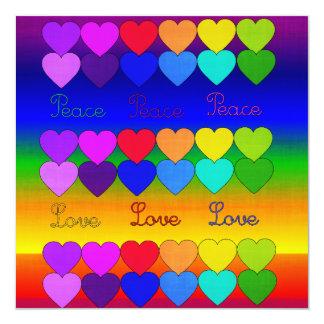 Love, Peace, Rainbows 5.25x5.25 Square Paper Invitation Card