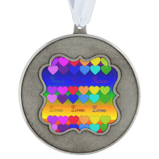 Love, Peace, Rainbows Scalloped Pewter Ornament