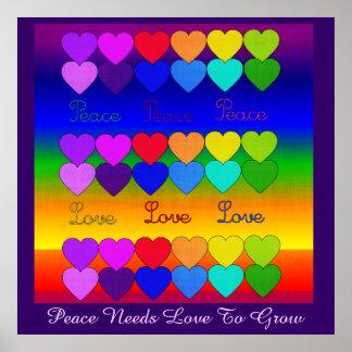 Love, Peace, Rainbows Print