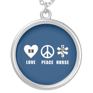 Love Peace RN Silver Plated Necklace