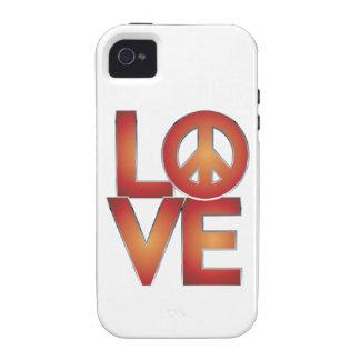 LOVE=Peace rojo Case-Mate iPhone 4 Carcasas