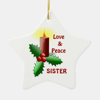 Love & Peace Sister - Candle & Flowers Ornament