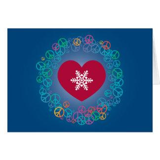 Love Peace Snowflake Christmas Wreath: Blue Card
