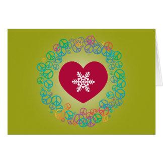 Love Peace Snowflake Christmas Wreath: Green Card