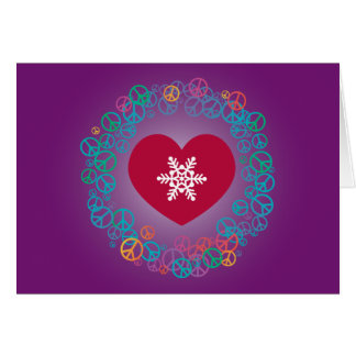 Love Peace Snowflake Christmas Wreath: Purple Card
