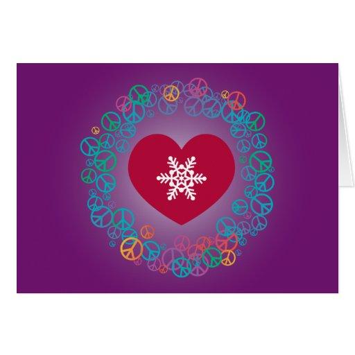 Love Peace Snowflake Christmas Wreath: Purple Greeting Card