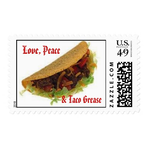 Love, Peace, & Taco Grease Postage Stamps