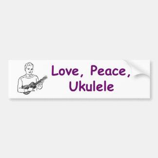Love, Peace, Ukulele Car Bumper Sticker