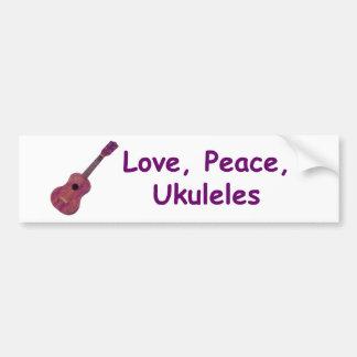 Love, Peace, Ukuleles Car Bumper Sticker