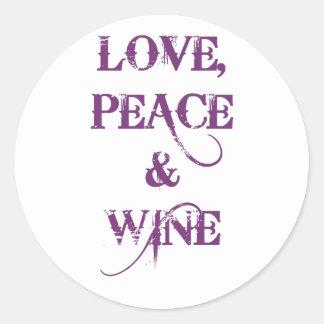 Love Peace Wine Classic Round Sticker