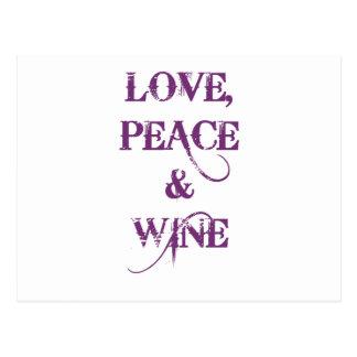 Love Peace Wine Postcard
