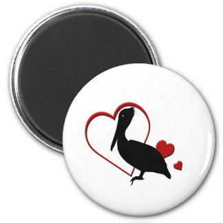 Love Pelican Hearts Magnet