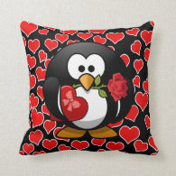 Love Penguin With Valentine Gifts Pillow