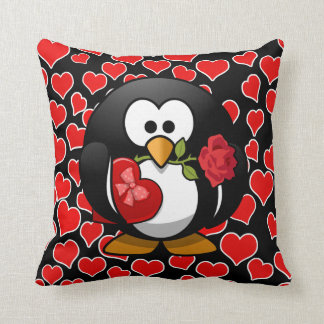 Love Penguin With Valentine Gifts Throw Pillow