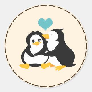 Love Penguins Sticker Round Sticker