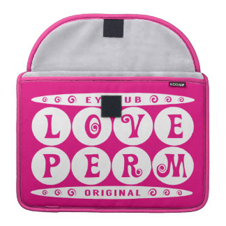 LOVE PERM - I Love My Curly Hairstyle Meme, White Sleeve For MacBooks