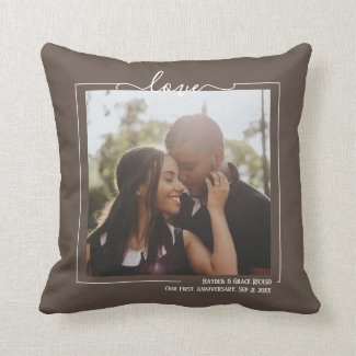 Love Personalized Photo And Text Throw Pillow