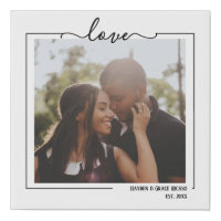 Love Personalized Photo and Text Typography Faux Canvas Print