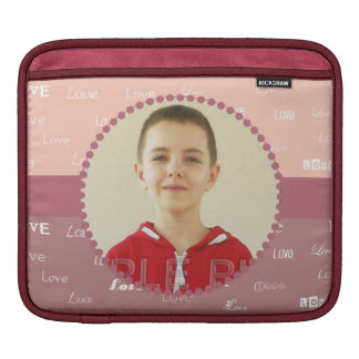 Love Personalized Photo Frame Pink iPad Sleeve