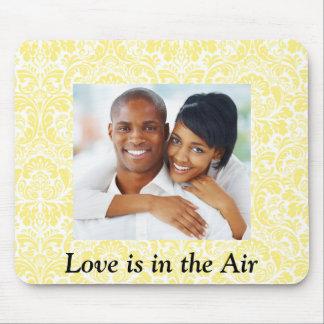 Love Personalized Photo Yellow Damask Mousepad