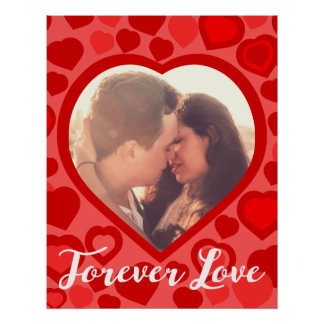 Love photo frame heart shaped picture border poster