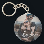 """Love Photo Simple Keychain<br><div class=""""desc"""">Simple keychain with your photo and modern handwritten font.</div>"""