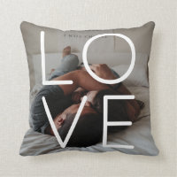 Love Photo Template Personalized Couples Throw Pillow