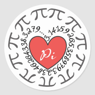 Love Pi 3.14 Stickers - Red Heart and Pi Symbols
