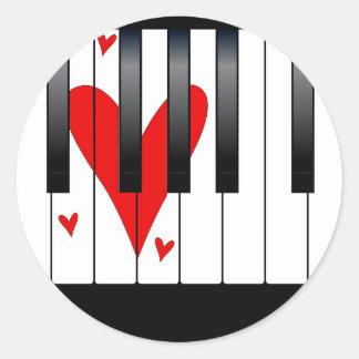 Love Piano Classic Round Sticker