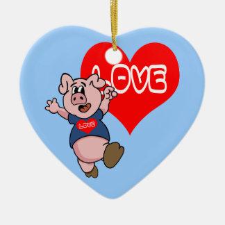 Love Piggy Ceramic Ornament