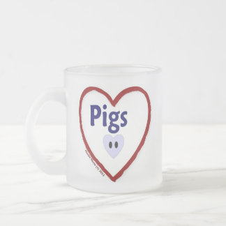 Love Pigs Frosted Glass Coffee Mug