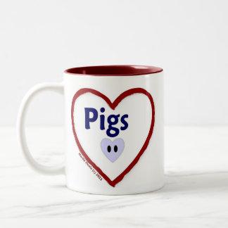 Love Pigs Two-Tone Coffee Mug