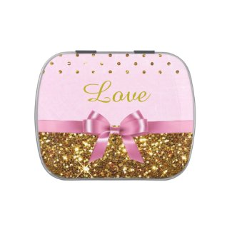 Love Pink and Gold Candy Favor Party Tins Jelly Belly Candy Tins