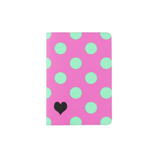 Love Pink And Mint Polka Dots Passport Holder
