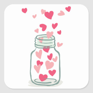 Love Pink And Red Hearts Mason Jars Wedding Square Sticker