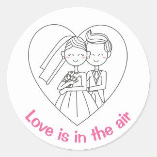 Love Pink And White Cartoon Bride & Groom Wedding Classic Round Sticker