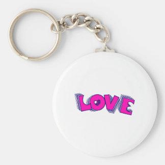 Love (Pink) Basic Round Button Keychain