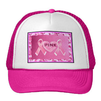 LOVE PINK CAMO RIBBONS AND HEART PRINT TRUCKER HAT