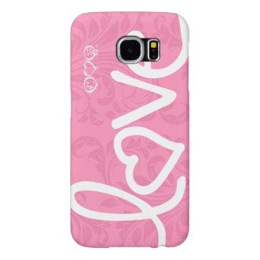 love - pink damask pattern samsung galaxy s6 cases