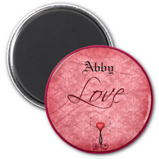 Love Pink Damask Red Heart Magnet
