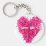 love pink feather boa keyring keychain