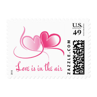Love Pink & Fuchsia Hearts Wedding Stamps