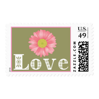 Love Pink Gerbera Daisy Floral US Postage Stamps