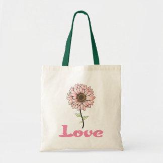 Love Pink Gerbera Daisy Flower Canvas Totebag Tote Bag