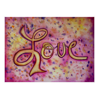 Love Pink Glamorous Art Painting Poster Print