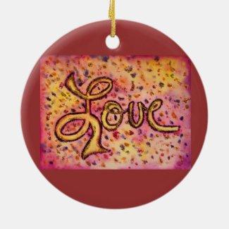Love Pink Glamorous Glitter Ornament Art
