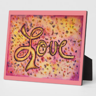 Love Pink Glamorous Glitter Painting Poem Plaque