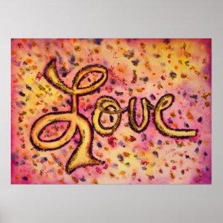 Love Pink Glamorous Glitter Painting Poster Print