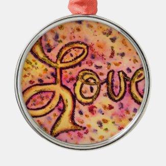 Love Pink Glamorous Glitter Word Art Ornament