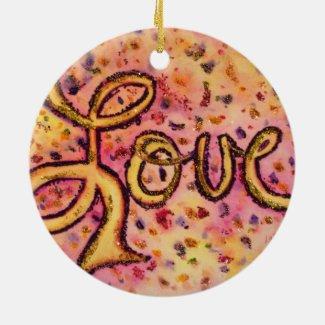 Love Pink Glamorous Glitter Word Ornaments